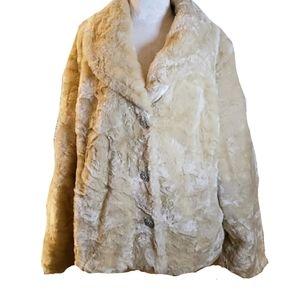 Lane Bryant Venezia ■ (22/24) Cream Faux Fur Coat